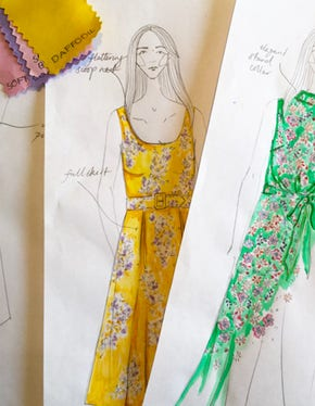 Illustrations of floral dresses