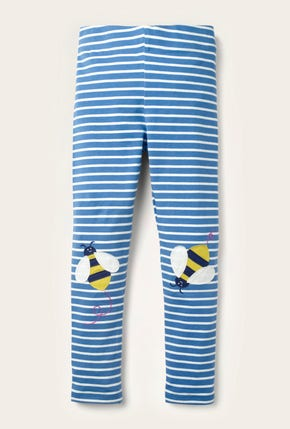 Fun Appliqué Leggings - Elizabethan Blue Bees Knees