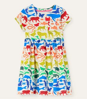 Fun Jersey Dress - Multi Rainbow Animals