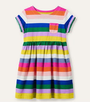 Fun Jersey Dress - Brilliant Blue Multi Stripe