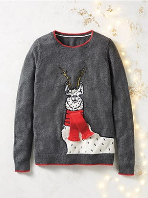 Scarf Llama Christmas Jumper with a touch of cashmere and merino wool in the yarn for extra cosiness