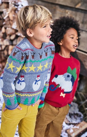 Festivewear for Boys, including our twin pack Wren Blue Reindeer Party long john pyjamas.