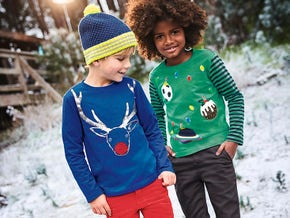 Festivewear for Boys. Orion Blue Reindeer festive sequin t-shirt and Watercress Green Baubles long sleeve t-shirt.