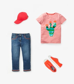 Fluttery Colour-Change T-Shirt - Shell Pink Cactus